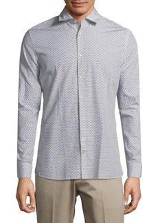 J. Lindeberg Geometric-Print Cotton Button-Down Shirt