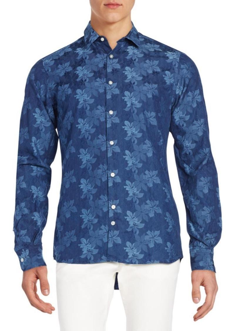 J. Lindeberg Slim-Fit Floral Print-Cotton Sportshirt