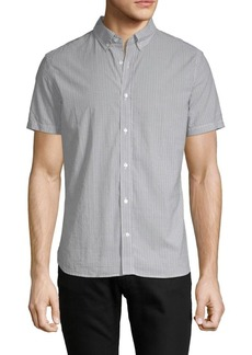 J. Lindeberg Striped Short-Sleeve Cotton Button-Down Shirt