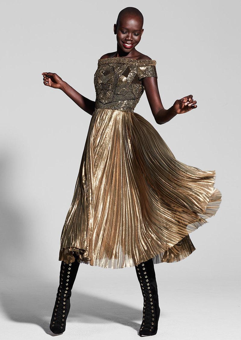 J. Mendel Beaded Off-the-Shoulder Plisse Cocktail Dress  Gold