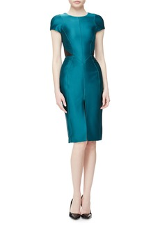 J. Mendel Cap-Sleeve Leather-Inset Day Dress