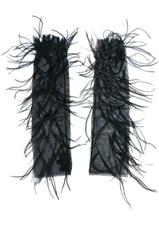 J. Mendel feather embellished mesh evening gloves