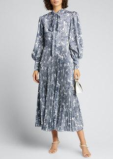 J. Mendel Abstract Silk Tie-Neck Shirtdress