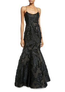 J. Mendel Beaded-Lace Illusion Mermaid Gown