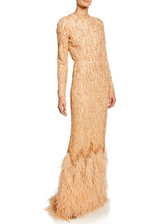 J. Mendel Beaded Long-Sleeve Column Gown with Ostrich Feather Hem