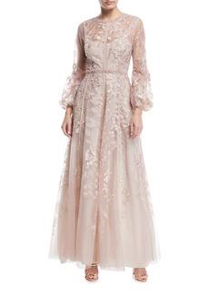 J. Mendel Bishop-Sleeve Floral Lace Gown