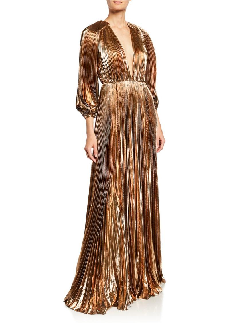 J. Mendel Blouson-Sleeve V-Neck Pleated Lame Gown