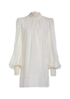 J. Mendel Bow-Accented Broderie Anglaise Dress