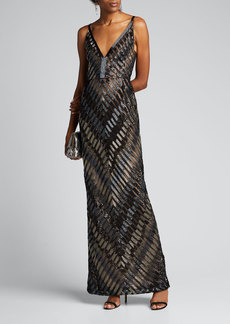 J. Mendel Chevron-Embroidered V-Neck Gown