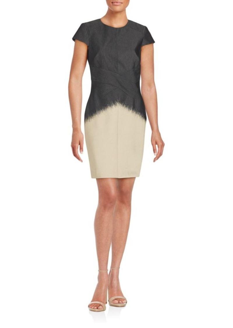 J. Mendel Colorblock Short Sleeve Sheath Dress