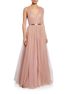 J. Mendel Deep V-Neck Gown