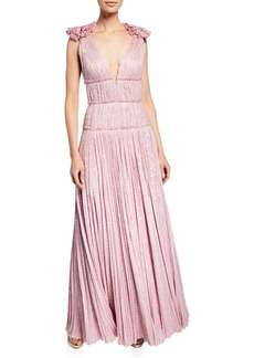 J. Mendel Deep V Pleated Gown