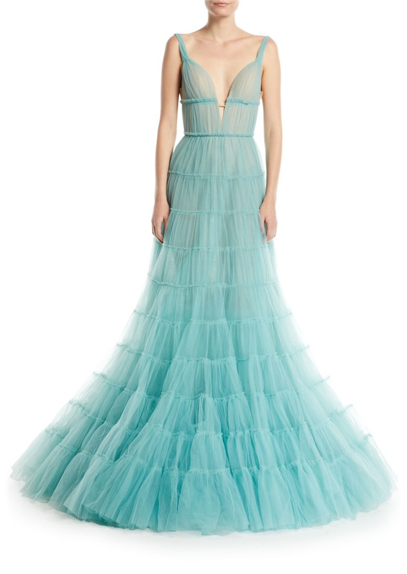 J. Mendel Deep-V Tiered Tulle Evening Gown