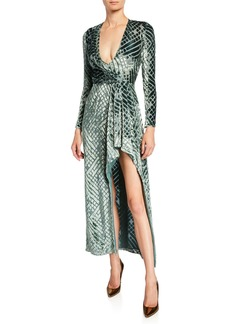 J. Mendel Diamond-Burnout Velvet Wrap Gown