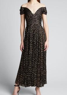 J. Mendel Dotted Off-The-Shoulder Tulle Dress