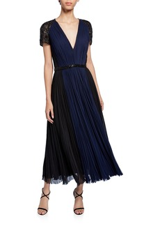 J. Mendel Embellished Deep V Cocktail Dress