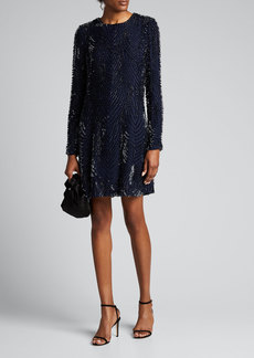 J. Mendel Embellished Long-Sleeve Cocktail Dress