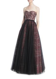 J. Mendel Embellished Strapless Tulle Gown