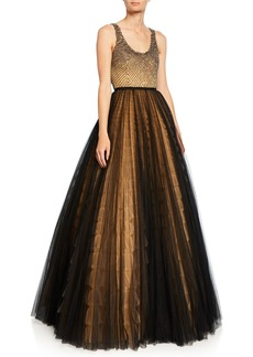 J. Mendel Embroidered Bustier Tulle Skirt Gown