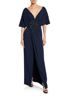 J. Mendel Embroidered-Front Half-Cape Gown