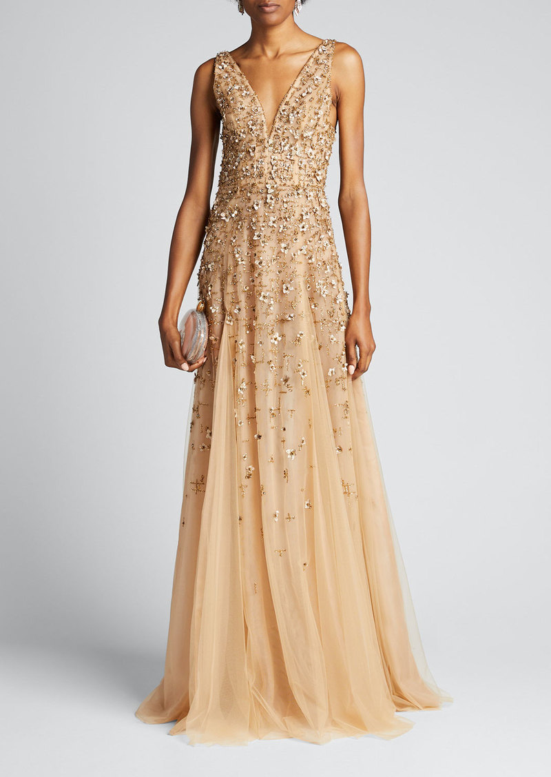 J. Mendel Embroidered-Tulle Sleeveless Gown