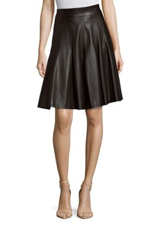 J. Mendel Flared Leather Skirt