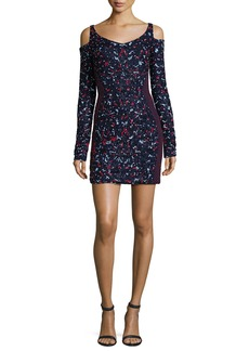 J. Mendel Floral-Embroidered Cold-Shoulder Dress