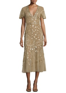 J. Mendel Floral-Embroidered Tulle Midi Dress