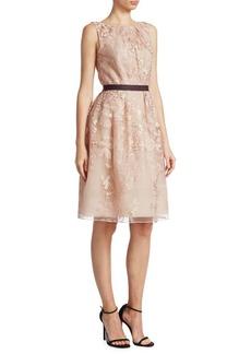 J. Mendel Floral Lace Belted A-Line Dress