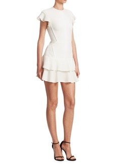 J. Mendel Flutter-Sleeve Mini Dress