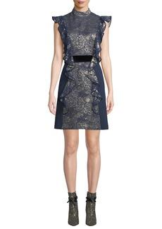 J. Mendel Flutter-Sleeve Metallic-Jacquard Open-Back Dress