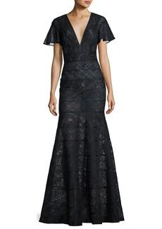 J. Mendel Flutter-Sleeve Paneled Lace Gown