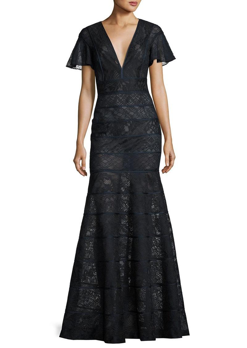 J. Mendel J. Mendel Flutter-Sleeve Paneled Lace Gown   Dresses