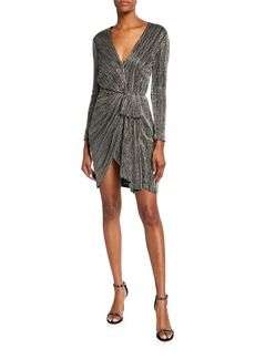 J. Mendel Fully-Embroidered Metallic Wrapped Cocktail Dress