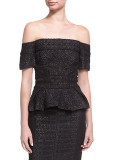 J. Mendel Geometric Lace Off-the-Shoulder Top