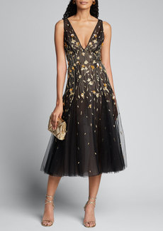 J. Mendel Golden Flower Embroidered Tulle Dress