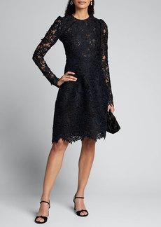 J. Mendel Guipure Lace Long-Sleeve Dress