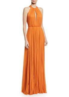 J. Mendel Halter-Neck Pleated Gown