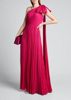 J. Mendel Hand-Pleated Silk Bowed-Shoulder Gown