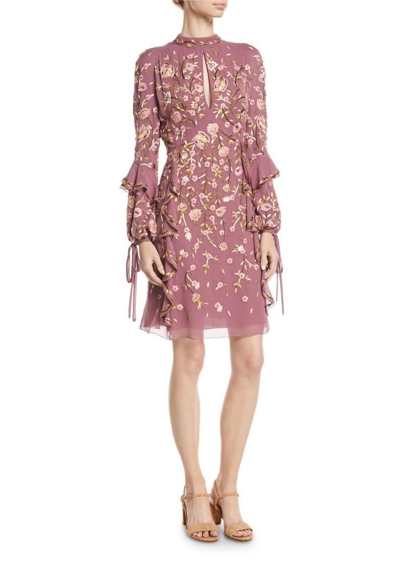 J. Mendel High-Neck Long-Sleeve Floral-Embroidered Silk A-Line Dress