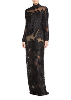 J. Mendel High-Neck Long-Sleeve Floral Illusion Column Evening Gown