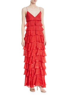J. Mendel Iridescent Tiered Ruffle Gown
