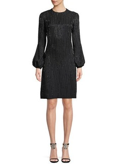 J. Mendel Jewel-Neck Blouson-Sleeve Beaded Cocktail Dress