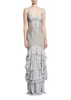 J. Mendel Lace & Chiffon Tiered Gown