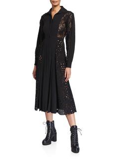 J. Mendel Lace-Inset Button-Front Shirtdress