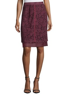 J. Mendel Lace-Overlay Pencil Skirt