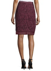 J. Mendel Lace-Overlay Pencil Skirt