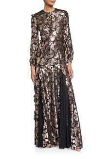 J. Mendel Lame Buttoned High-Neck Gown