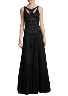 J. Mendel Leaf & Lattice Embroidered Silk Gown