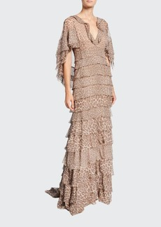 J. Mendel Leopard Print Ruffle-Tiered Chiffon Gown